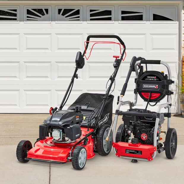 Save up to $100 Benchmark Electric & Gas Outdoor Power Equipment