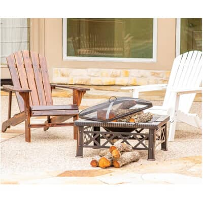 Leigh Country 30 Square Steel Outdoor Fire Pit With Lid Home Hardware