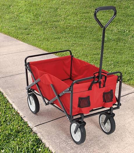 RIVER TRAIL Chariot pliant rouge et noir avec roues de 8 po
