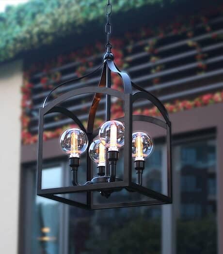 INSTYLE OUTDOOR Luminaire chandelier suspendu fonctionnant à pile de 22,5 po, avec télécommande