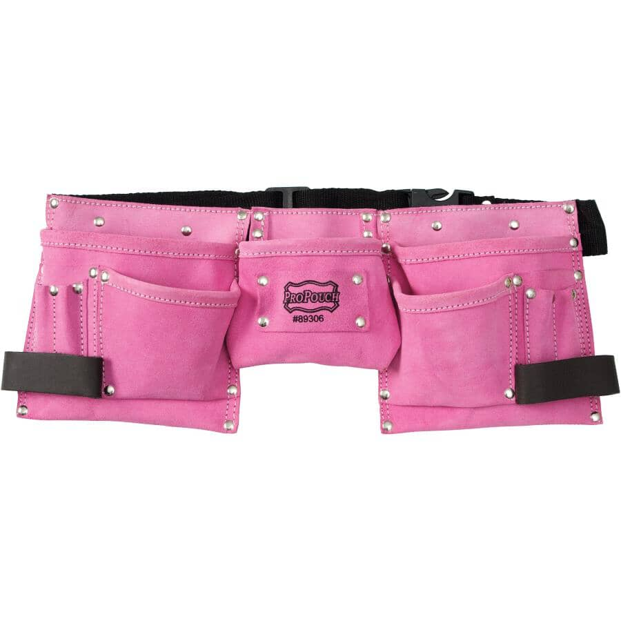 PROPOUCH:11 Pocket Pink Small Leather Carpenters Waist Apron