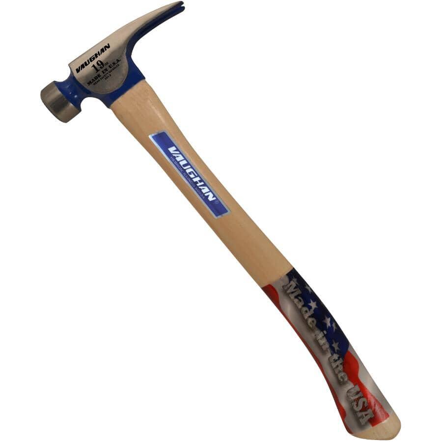 VAUGHAN:Marteau de charpentier à face usinée avec manche en hickory, 19 oz