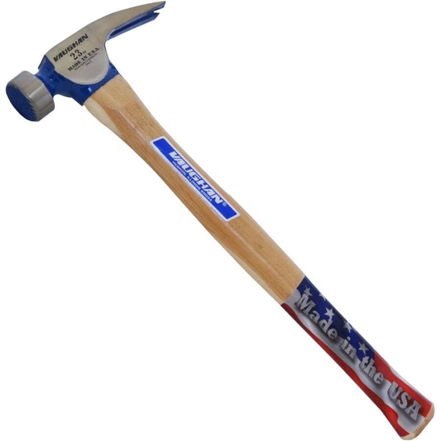 VAUGHAN:Marteau de charpentier à face usinée avec manche droit en hickory, 23 oz