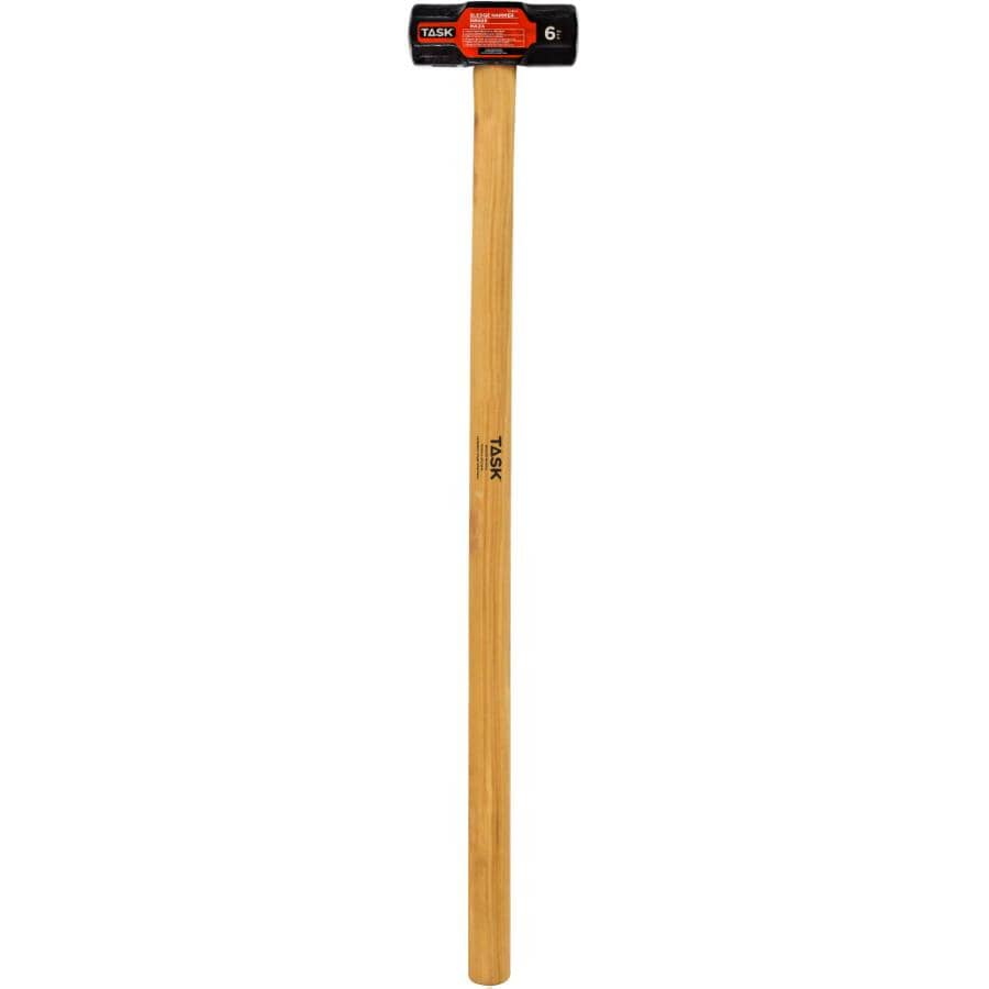 """TASK:6 lb Double Face Sledge Hammer - with 36"""" Hickory Handle"""