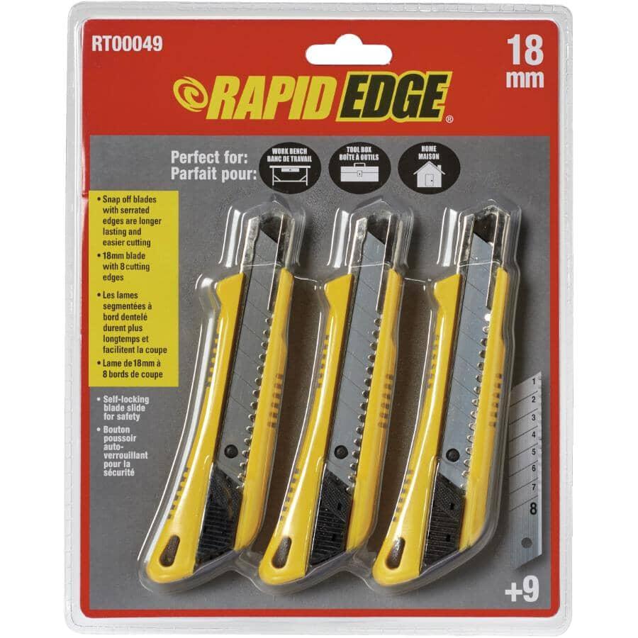 RAPID EDGE:Ensemble de 3 couteaux utilitaires à lames cassables et 9 lames de 18 mm
