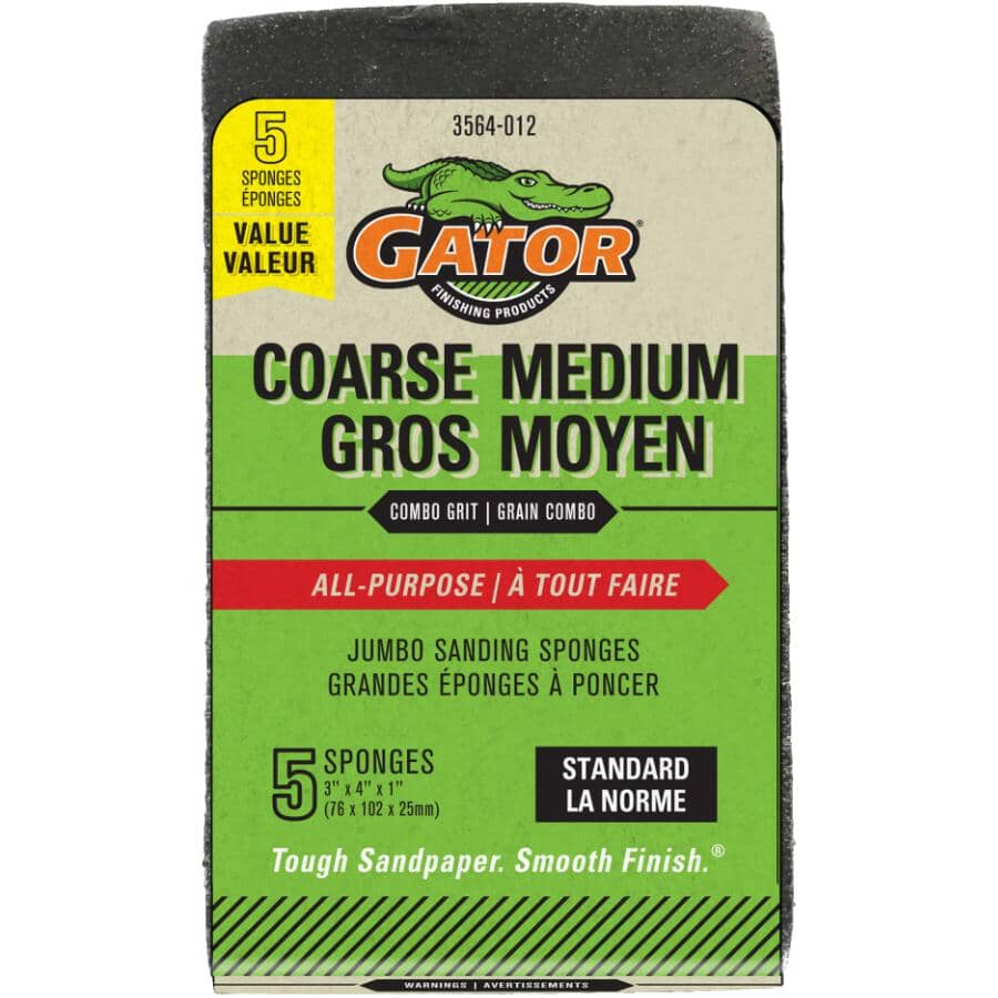 "GATOR:Coarse & Medium Grit Jumbo Sanding Sponges - 3"" x 4"", 5 Pack"