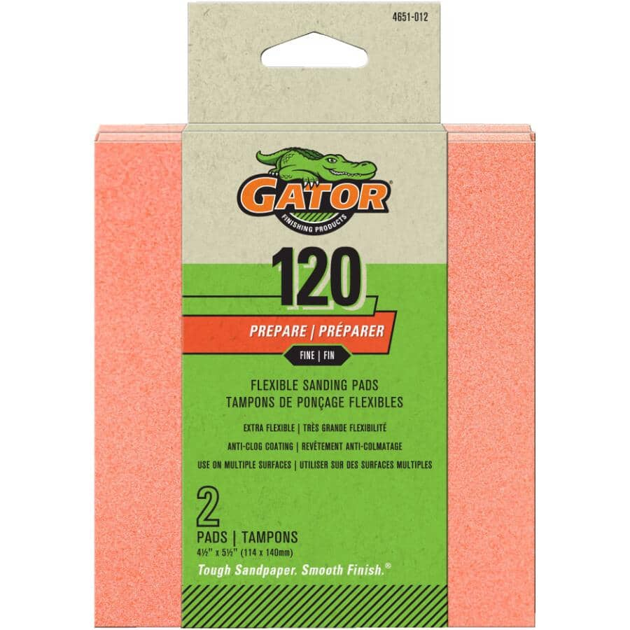 "GATOR:120 Grit Premium Flexible Sanding Pads - 4.5"", 2 Pack"