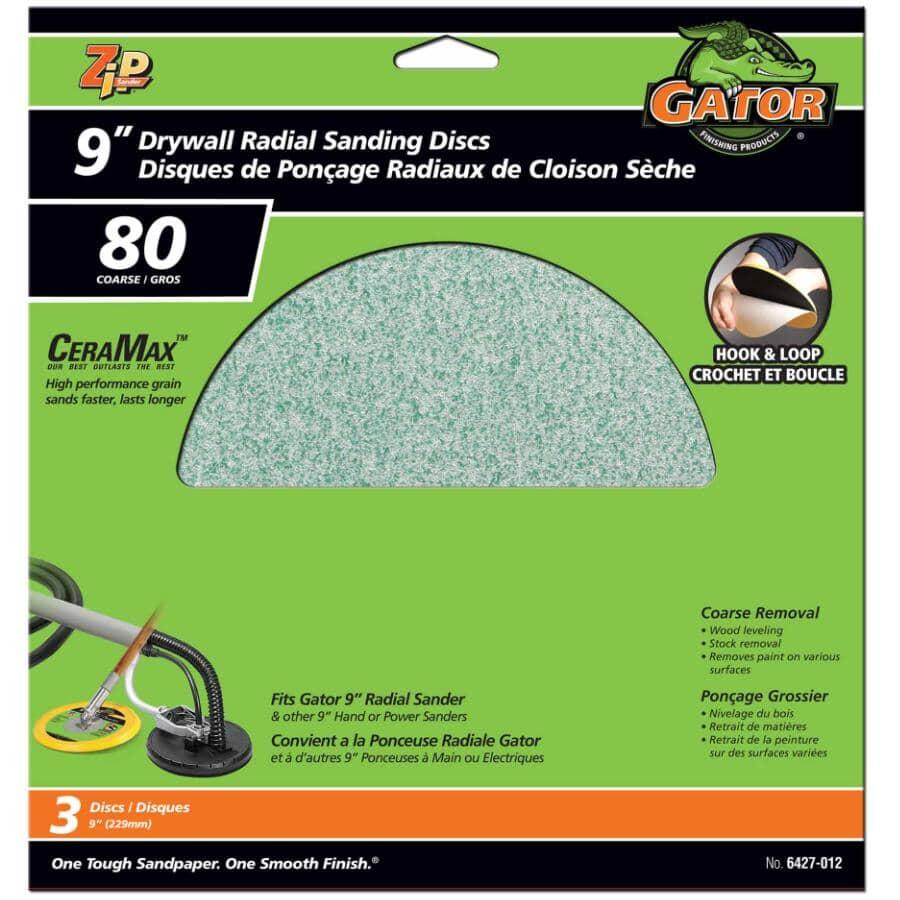 """GATOR:80 Grit Hook & Loop Radial Sanding Discs - 9"""", 3 Pack"""