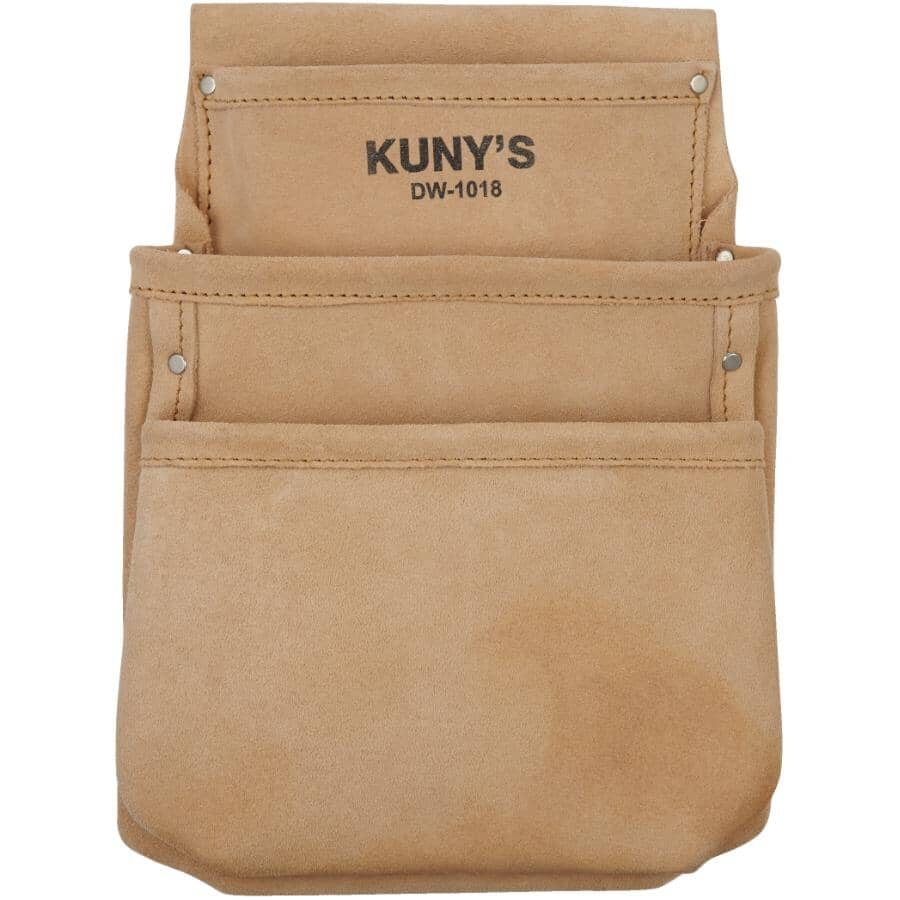 KUNY'S:Sac à outils en cuir refendu pour plâtrier de 3 pochettes