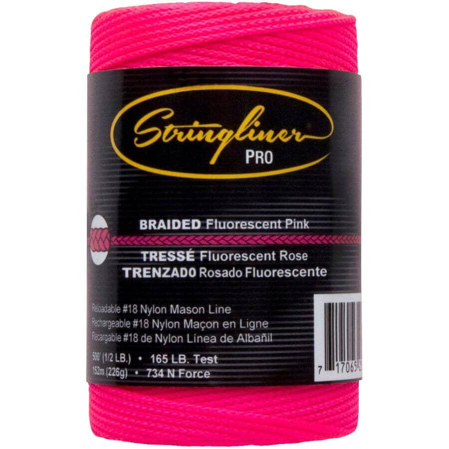 STRINGLINER:500' Pink Braided Nylon #18 Mason Line