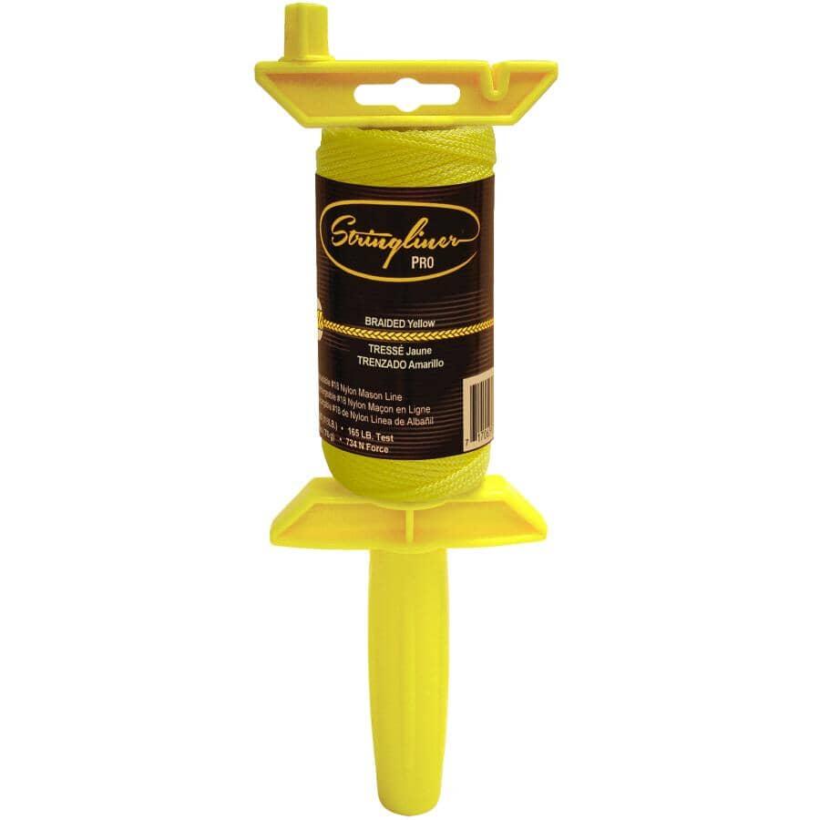STRINGLINER:125' Yellow Braided Nylon #18 Mason Line, with Holder