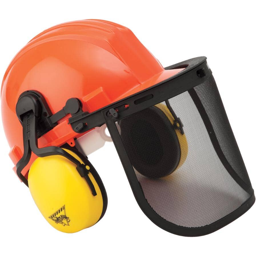 WORKHORSE:NRR23 Forestry Kit - with Hard Hat, Mesh Face Shield & Ear Muffs