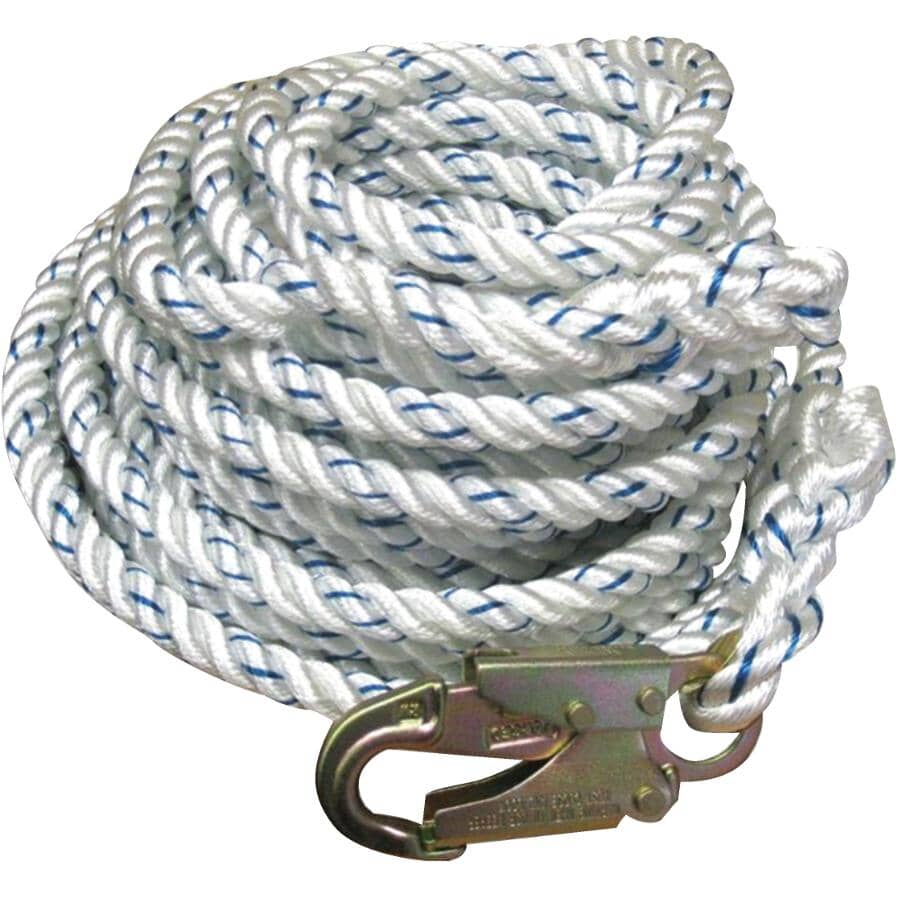 WORKHORSE:50' Life Line Rope - with Snap & Hook End