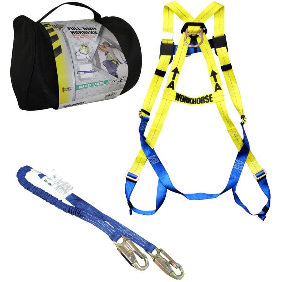 WORKHORSE:Full Body Harness & 6' Shock Absorbing Lanyard Safety Set