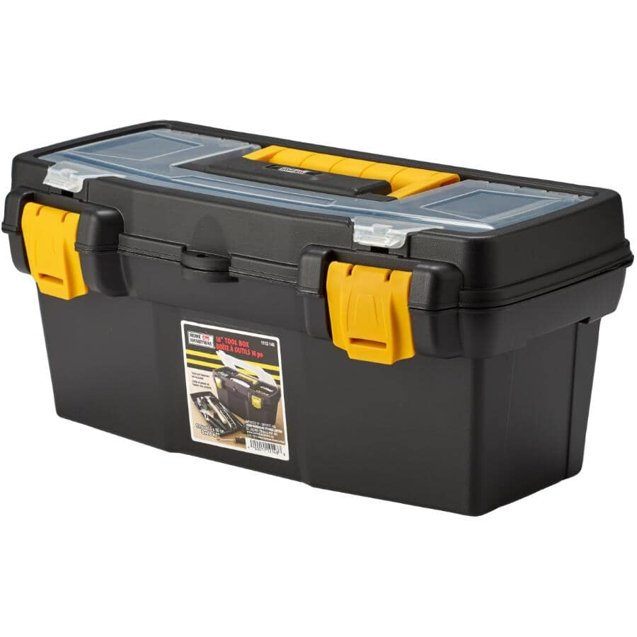 "HOME HANDYMAN:16"" x 8"" x 7"" Tool Box, with Plastic Tray"