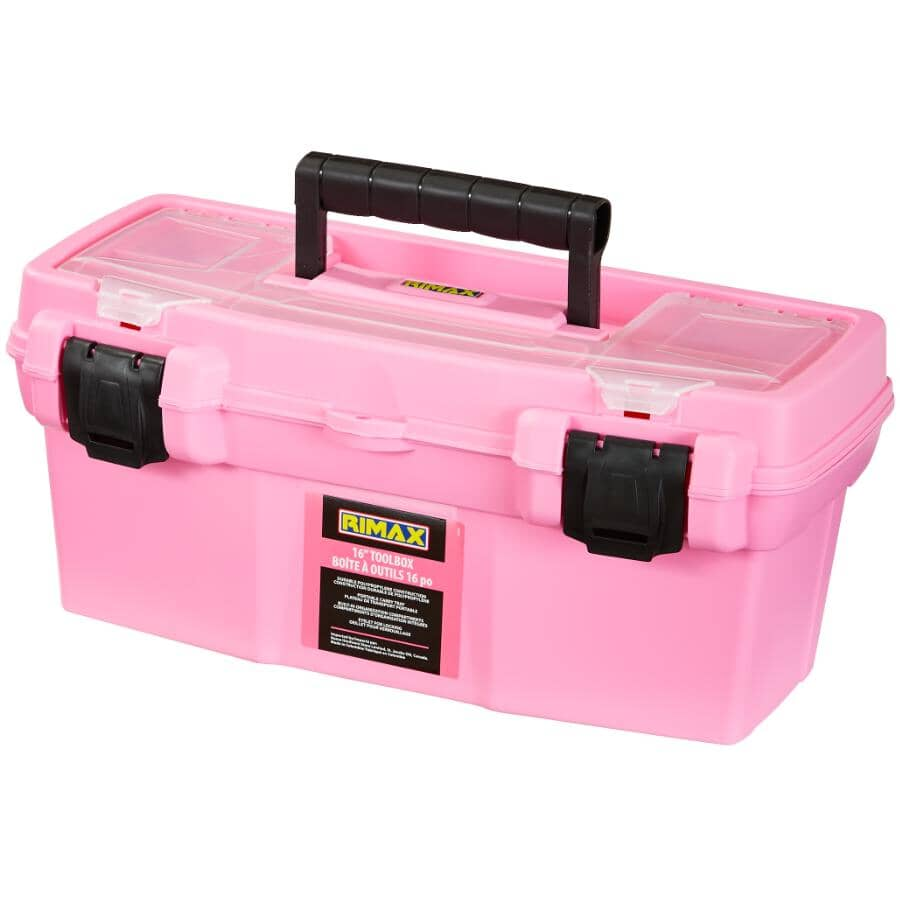 """RIMAX:15.9"""" x 8.1"""" x 7.2"""" Pink Tool Box, with Tray"""
