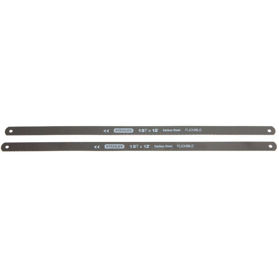 """STANLEY:2 Pack 12"""" x 18 Tooth Carbon Steel Hacksaw Blades"""
