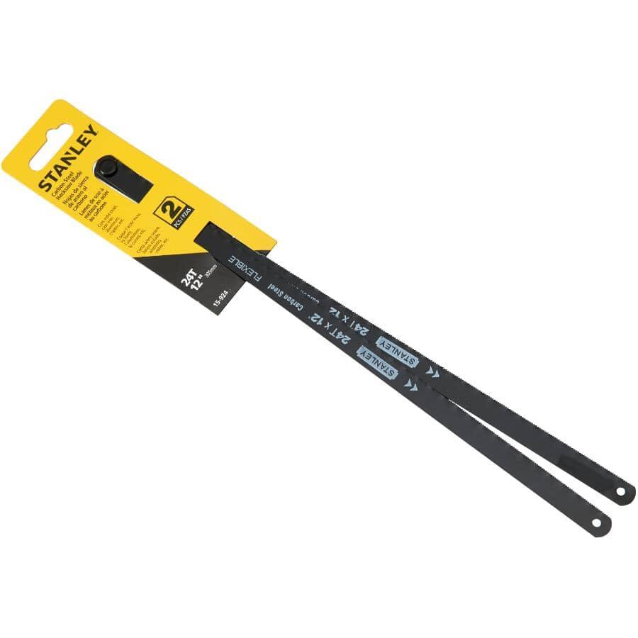 """STANLEY:2 Pack 12"""" x 24 Tooth Carbon Steel Hacksaw Blades"""