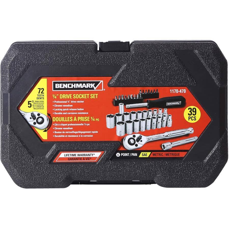 "BENCHMARK:1/4"" Drive SAE/Metric Socket Wrench - 39 Piece Set"