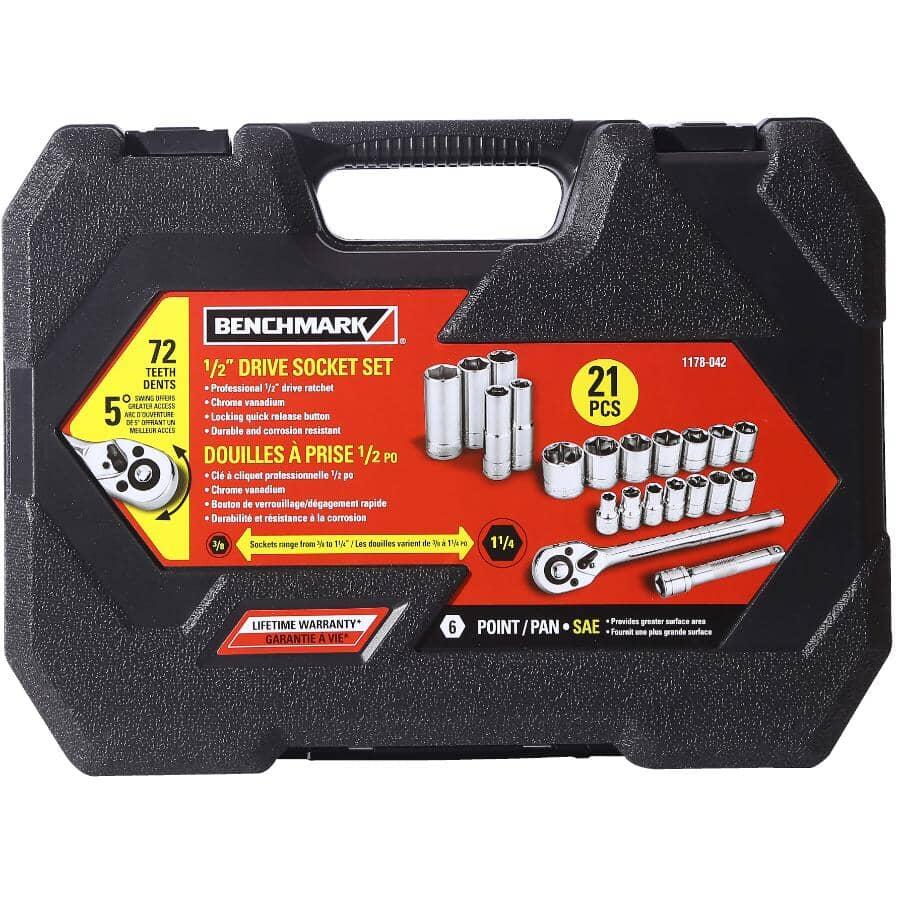 "BENCHMARK:1/2"" Drive SAE Socket Wrench - 21 Piece Set"