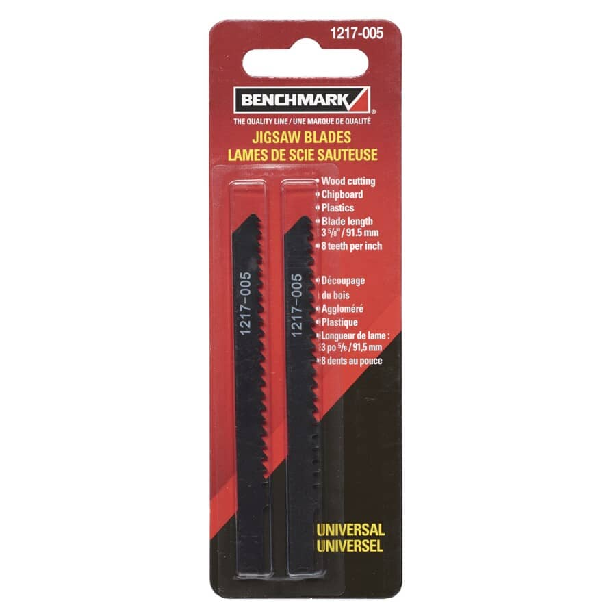 "BENCHMARK:2 Pack 3-5/8"" 8 Tooth U-Shank Jigsaw Blades, for Wood Cutting"