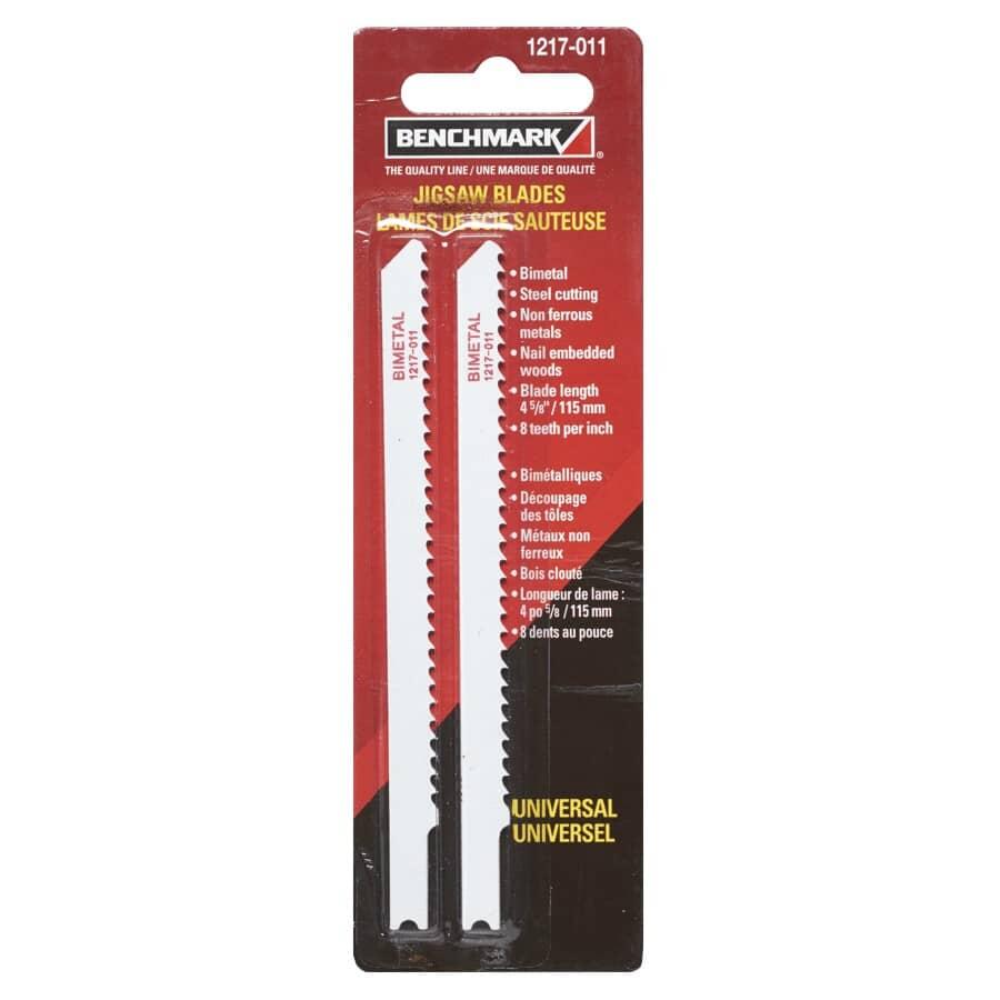 "BENCHMARK:2 Pack 4-5/8"" 8 Tooth U-Shank Jigsaw Blades, Multi Applications"