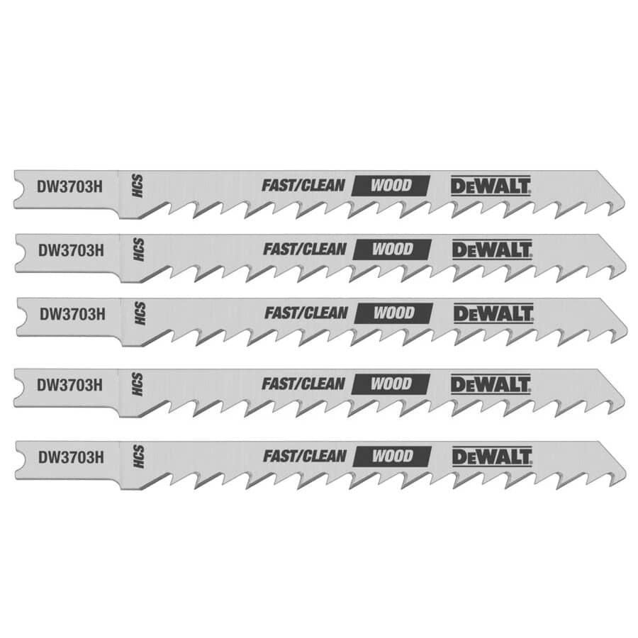 """DEWALT:5 Pack 4"""" 6 Tooth U-Shank Jigsaw Blades, for Wood Cutting"""