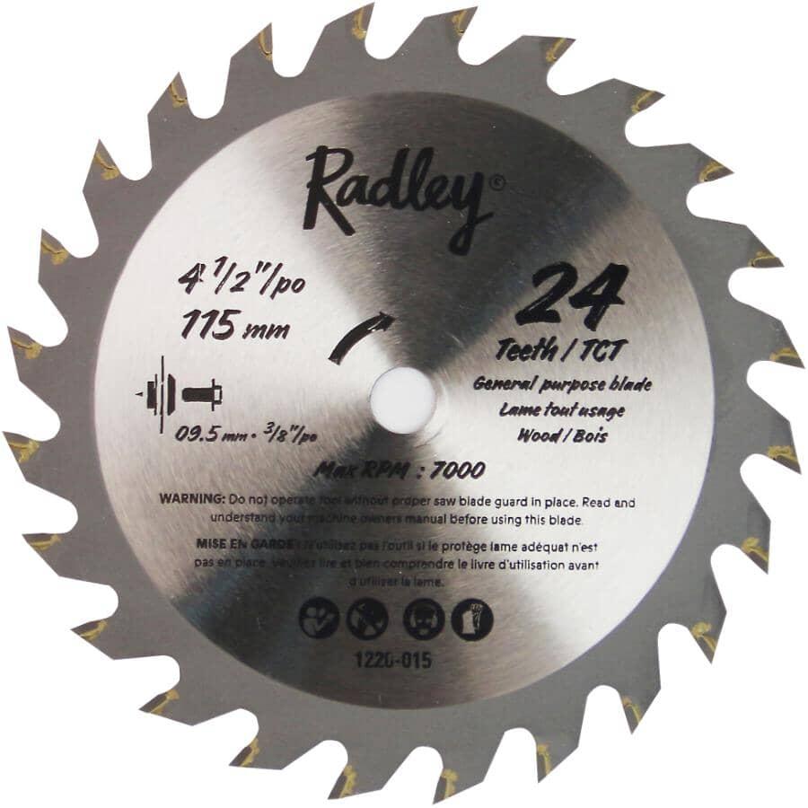 "RADLEY:4-1/2"" 24 Tooth Tungsten Carbide Tipped Circular Saw Blade"