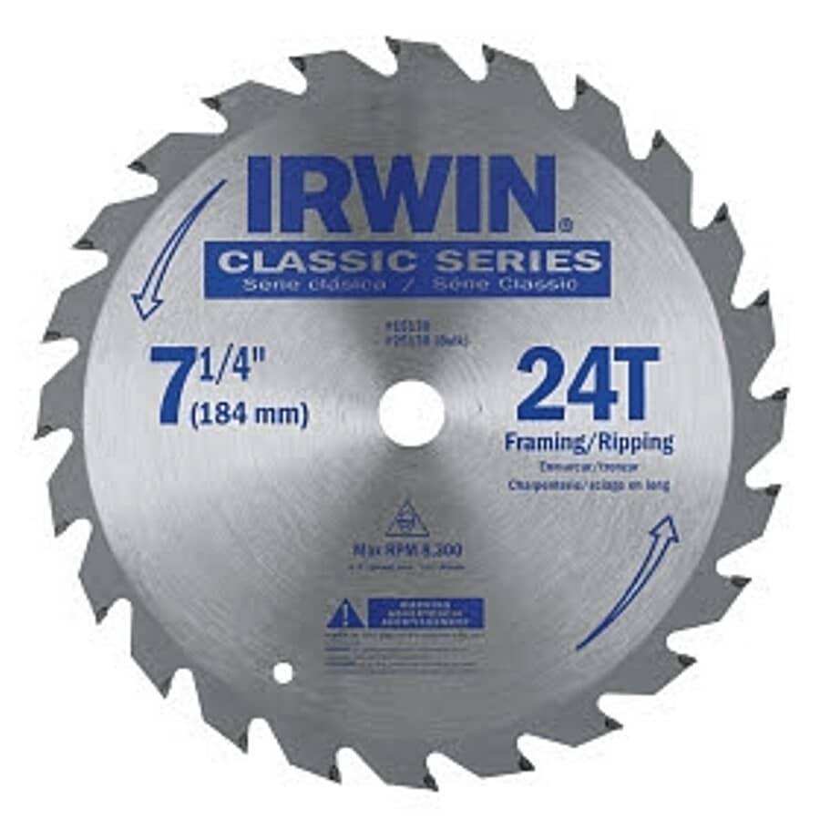 "IRWIN:7-1/4"" 24 Tooth Carbide Circular Saw Blade"