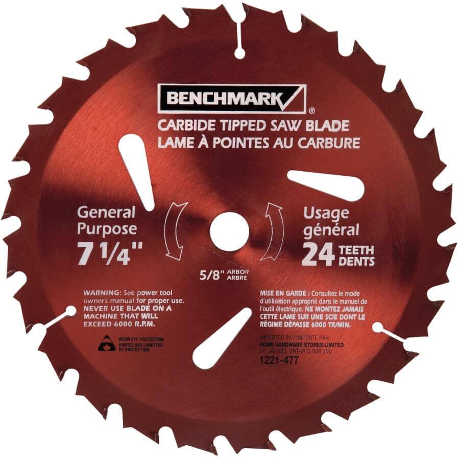 "BENCHMARK:7-1/4"" 24 Tooth Carbide Tipped Circular Saw Blade"