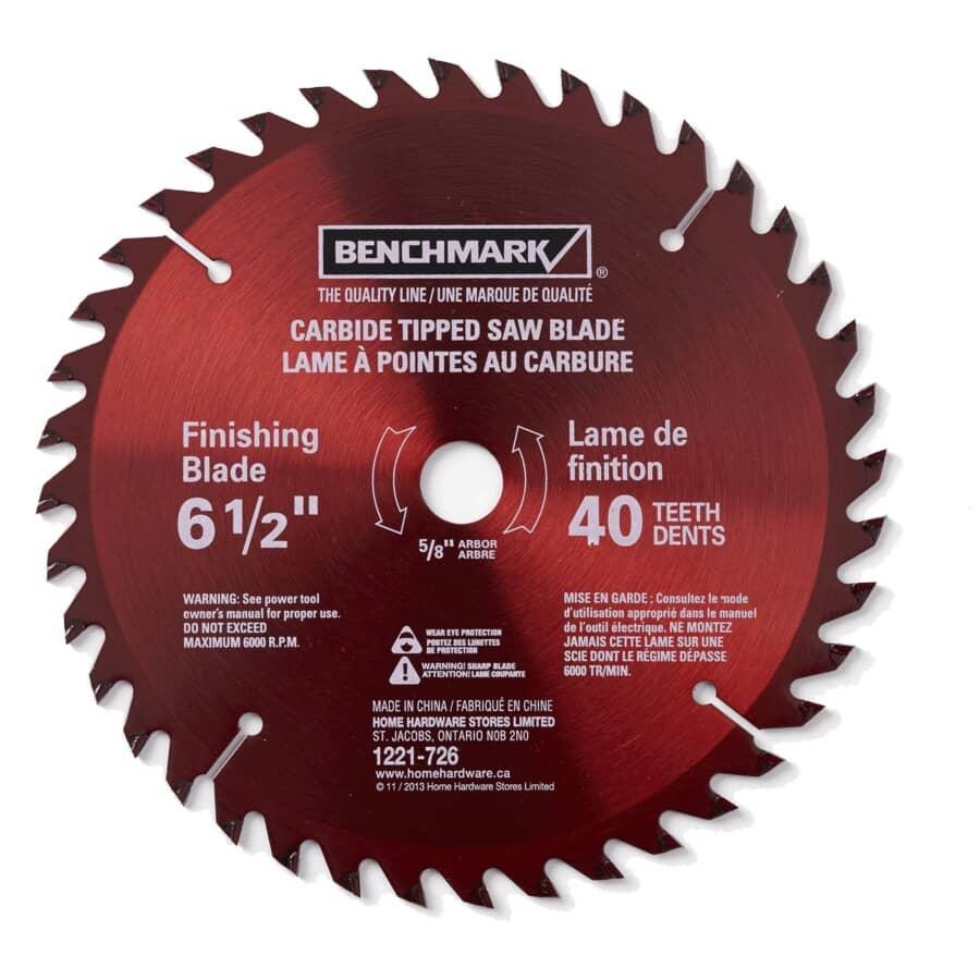 """BENCHMARK:6-1/2"""" 40 Tooth Carbide Circular Saw Blade"""