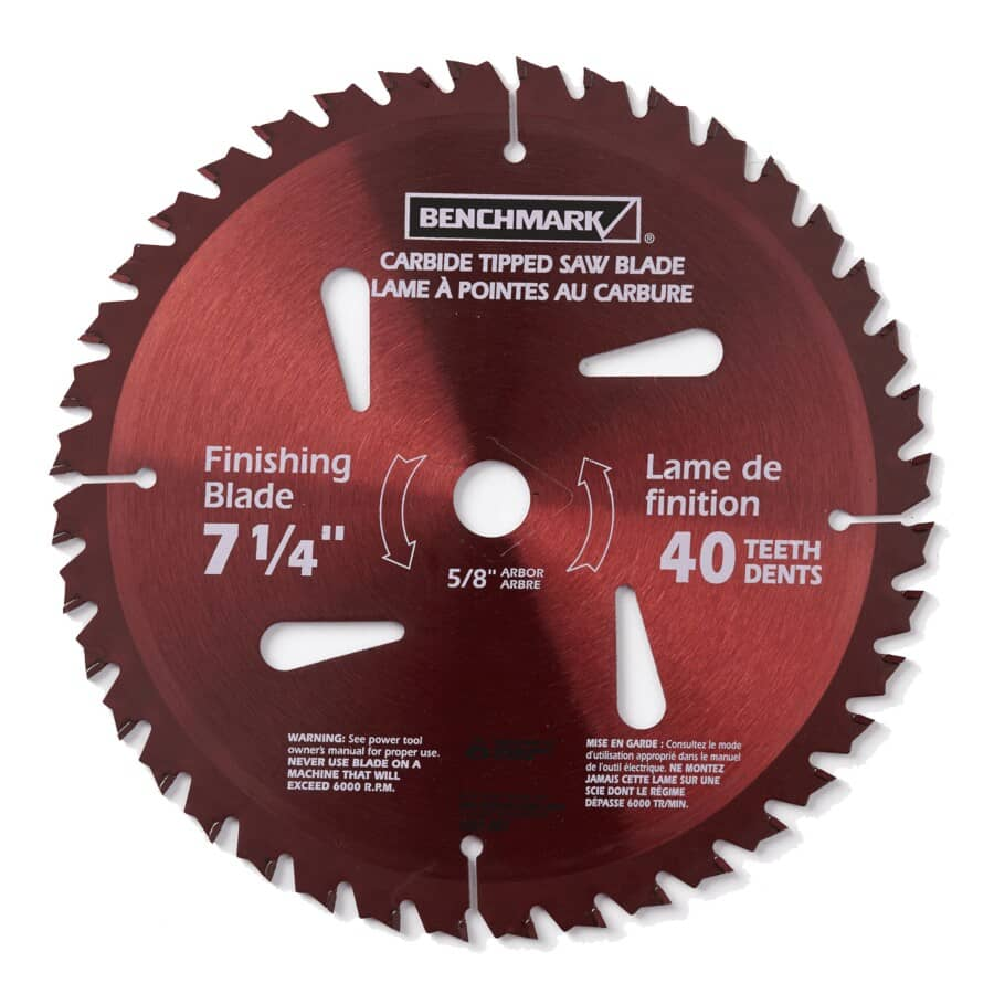 "BENCHMARK:7-1/4"" 40 Tooth Carbide Tipped Circular Saw Blade"