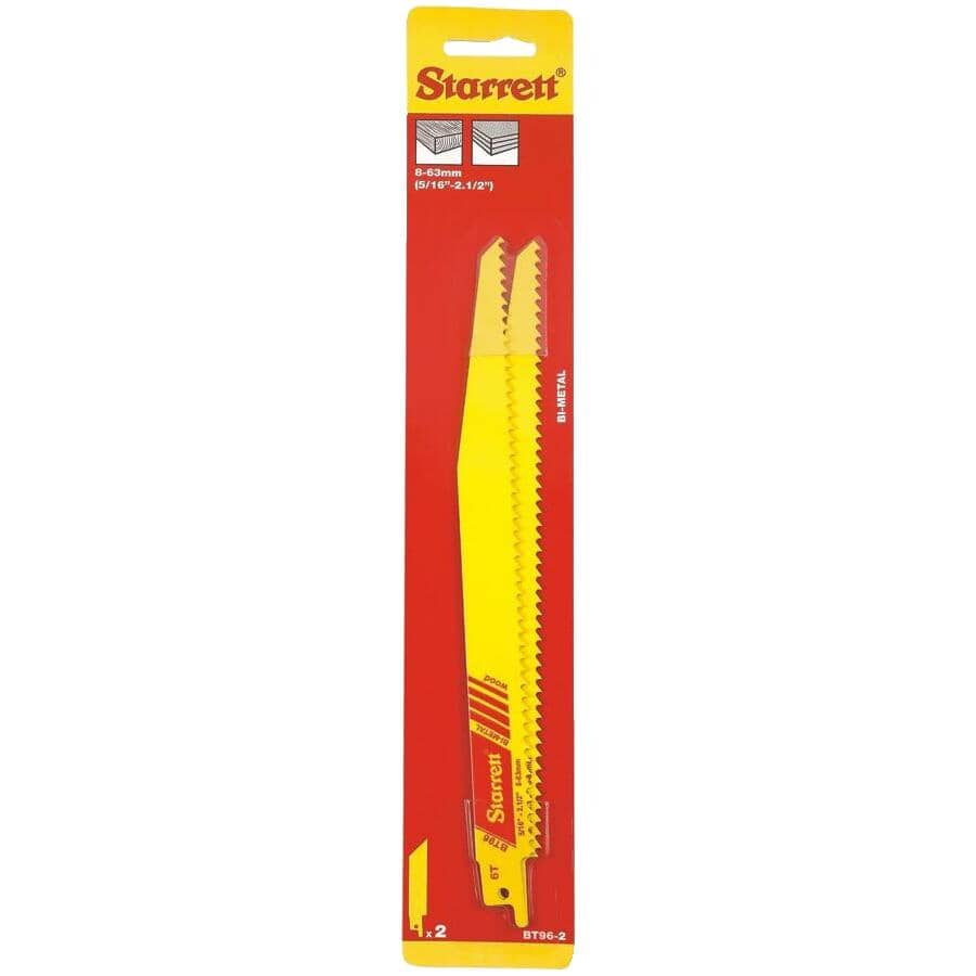 "STARRETT:2 Pack 6"" 6 Tooth Multi Purpose Reciprocating Saw Blades"