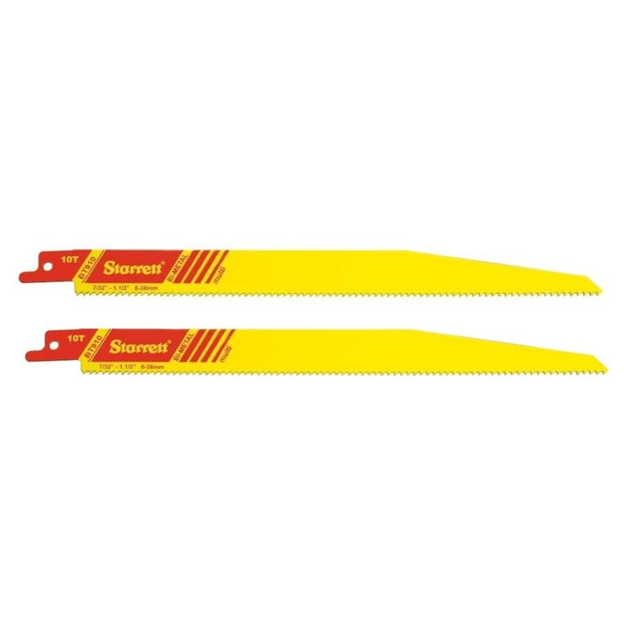 "STARRETT:2 Pack 9"" 10 Tooth Bi-Metal Multi Purpose Reciprocating Saw Blades"