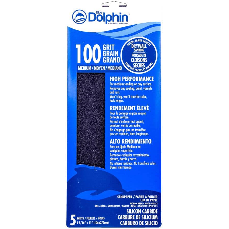 """BLUE DOLPHIN:100 Grit Silicon Drywall Sandpaper - 4-3/16"""" x 11"""", 5 Pack"""