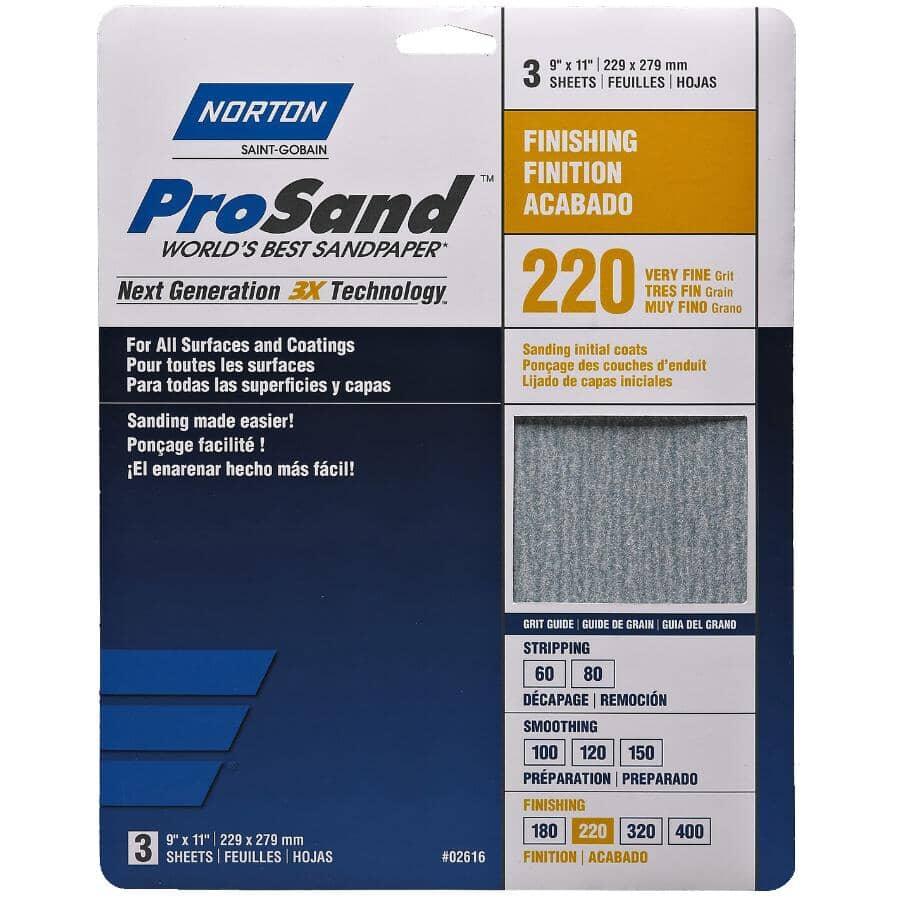 "NORTON:220 Grit Aluminum Oxide Sandpaper - 9"" x 11"", 3 Pack"
