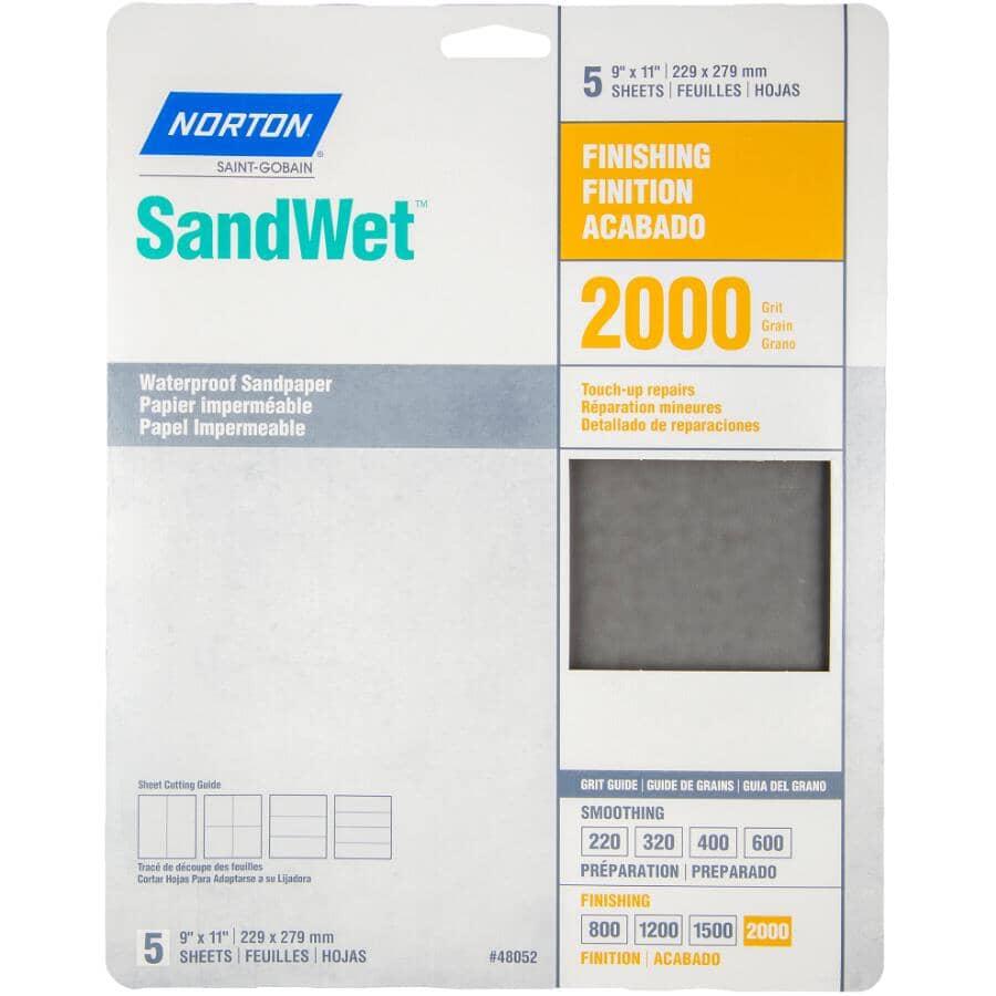"NORTON:2000 Grit Aluminum Oxide Sandpaper - 9"" x 11"", 5 Pack"