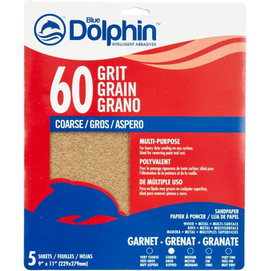 """BLUE DOLPHIN:60 Grit Garnet Sandpaper - 9"""" x 11"""", 5 Pack"""