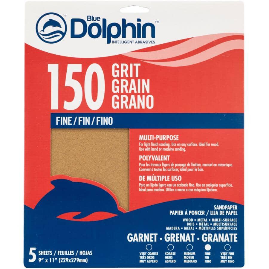"""BLUE DOLPHIN:150 Grit Garnet Sandpaper - 9"""" x 11"""", 5 Pack"""