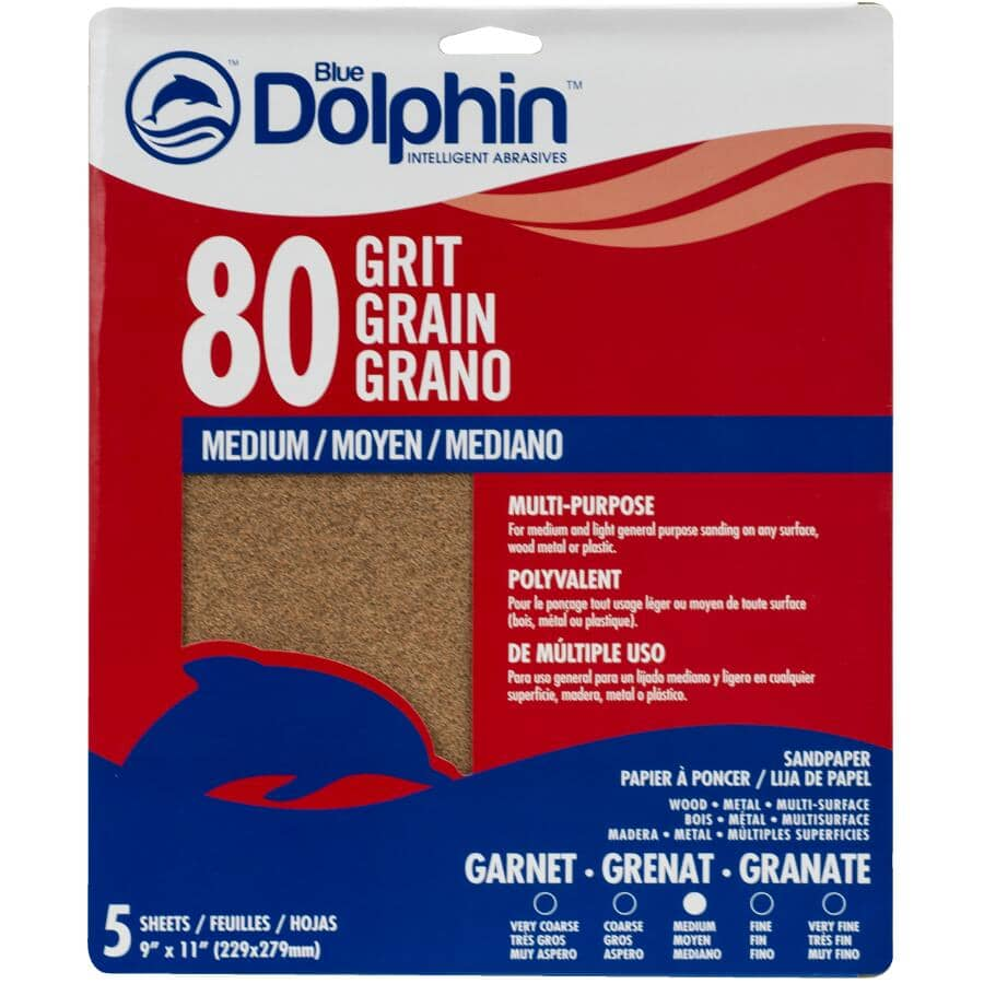 """BLUE DOLPHIN:80 Grit Garnet Sandpaper - 9"""" x 11"""", 5 Pack"""