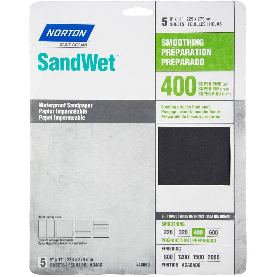 "NORTON:400 Grit Silicon Waterproof Sandpaper - 9"" x 11"", 5 Pack"