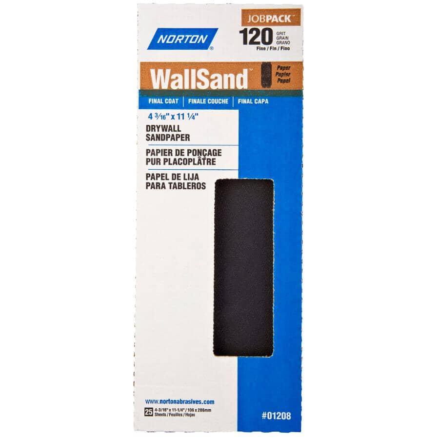 "NORTON:120 Grit Drywall Sandpaper - 4-3/16"" x 11"", 25 Pack"