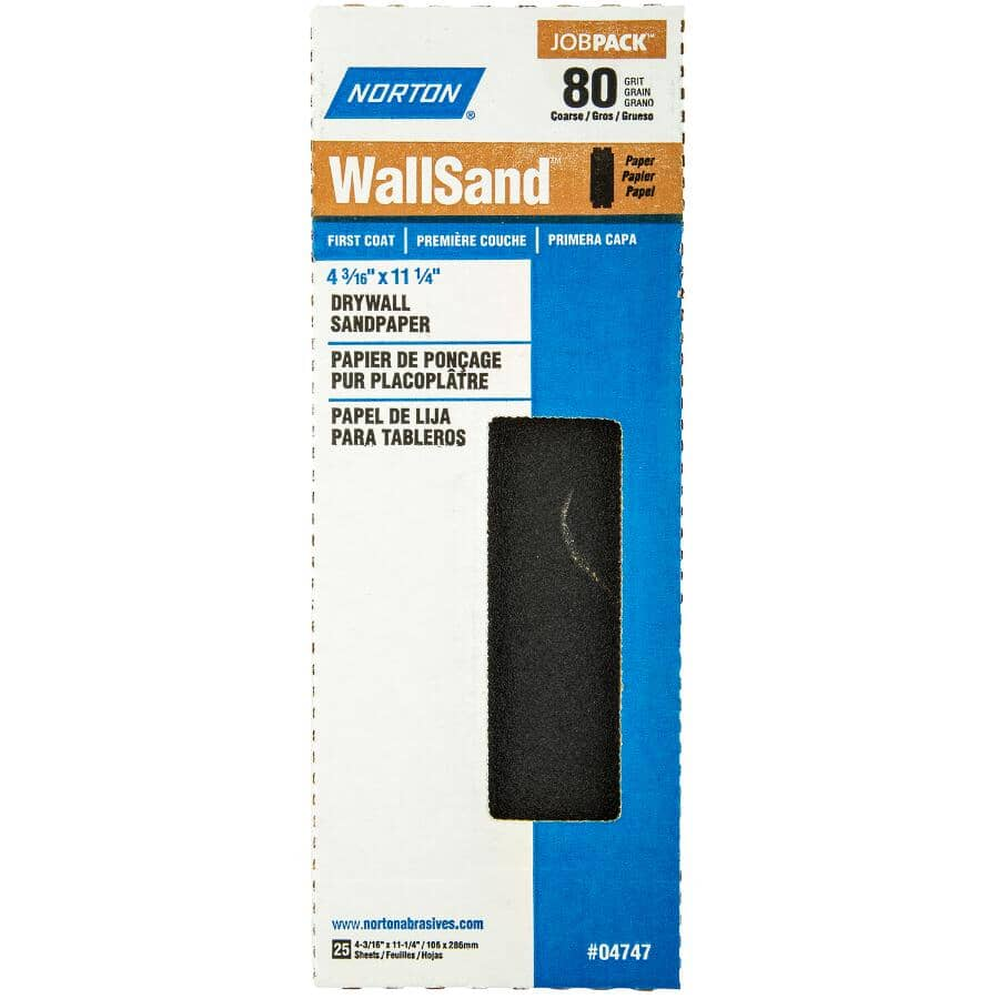 "NORTON:80 Grit Drywall Sandpaper - 4-3/16"" x 11"", 25 Pack"