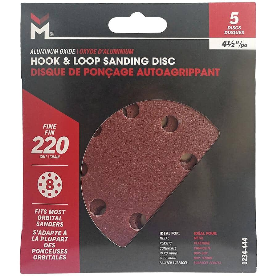 """BENCHMARK:5 Pack 4.5"""" 220 Grit Aluminum Oxide Hook and Loop Sanding Discs, with 8 Vacuum Holes"""