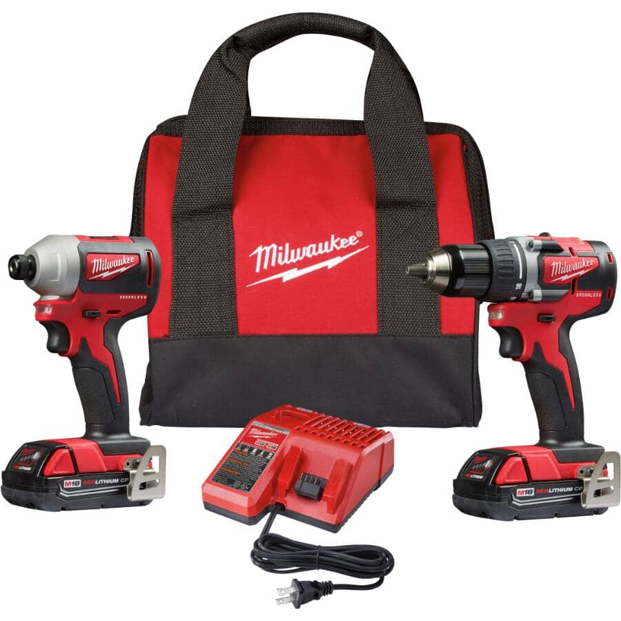 MILWAUKEE:M18 Redlithium Cordless Compact Drill Driver & Impact Driver Combo Kit - 18V + 2 Batteries + Charger + Tool Bag