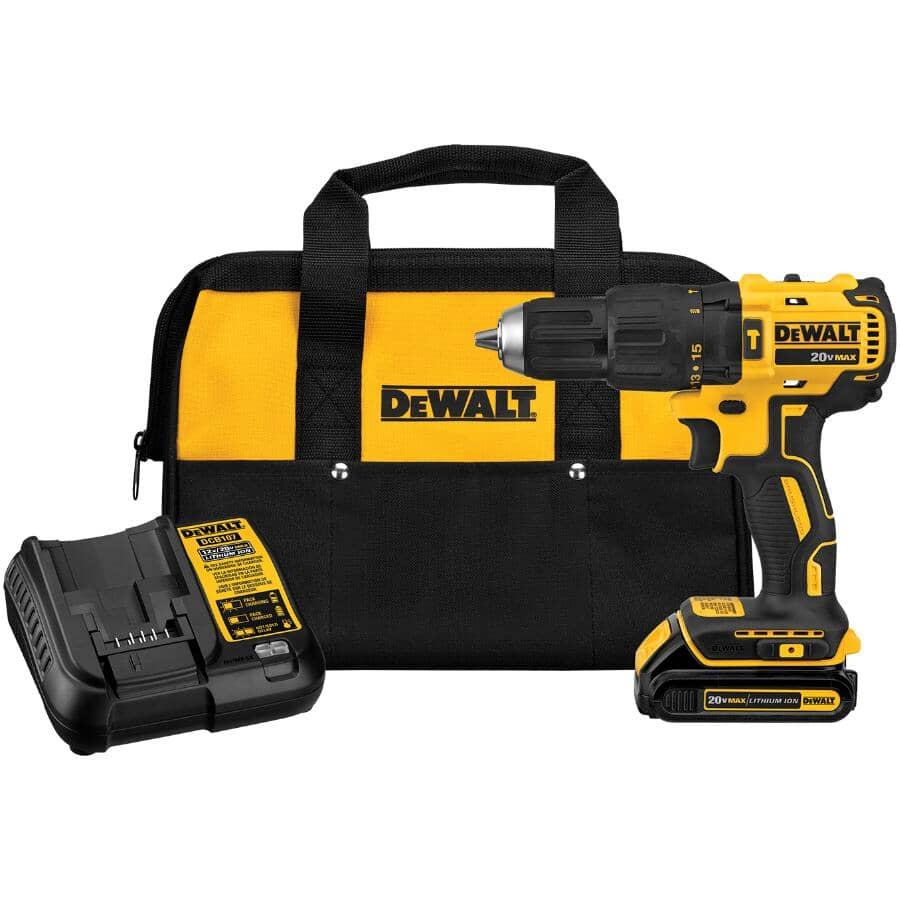 """DEWALT:20V MAX 1/2"""" Lithium-ion Cordless Hammer Drill Kit - Includes Battery, Charger & Tool Bag"""