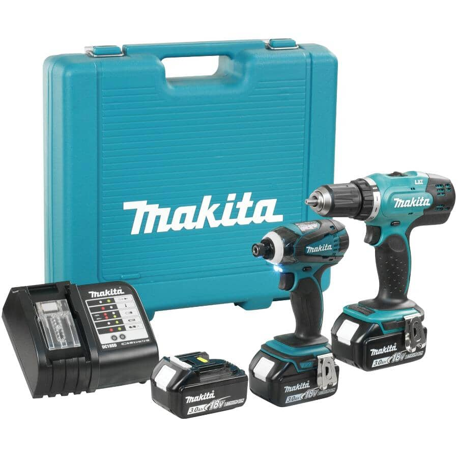 MAKITA:2 Tools 18 Volt Lithium-ion Cordless Combo Kit, with Bonus Battery