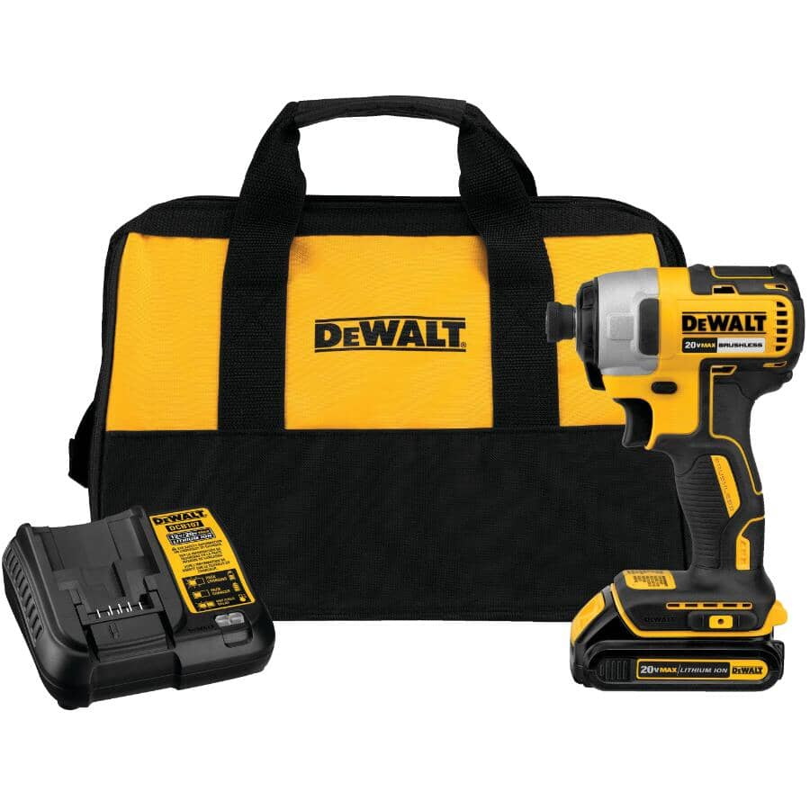 """DEWALT:20V Max 1/4"""" Lithium-ion Cordless Impact Driver Kit - with Battery, Charger & Tool Bag"""
