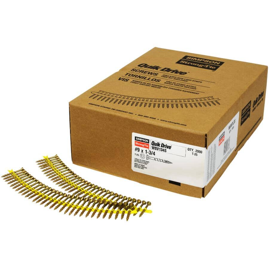 "SIMPSON STRONG-TIE:2000 Pack #9 x 1-3/4"" Coarse Thread Strip Floor Screws"