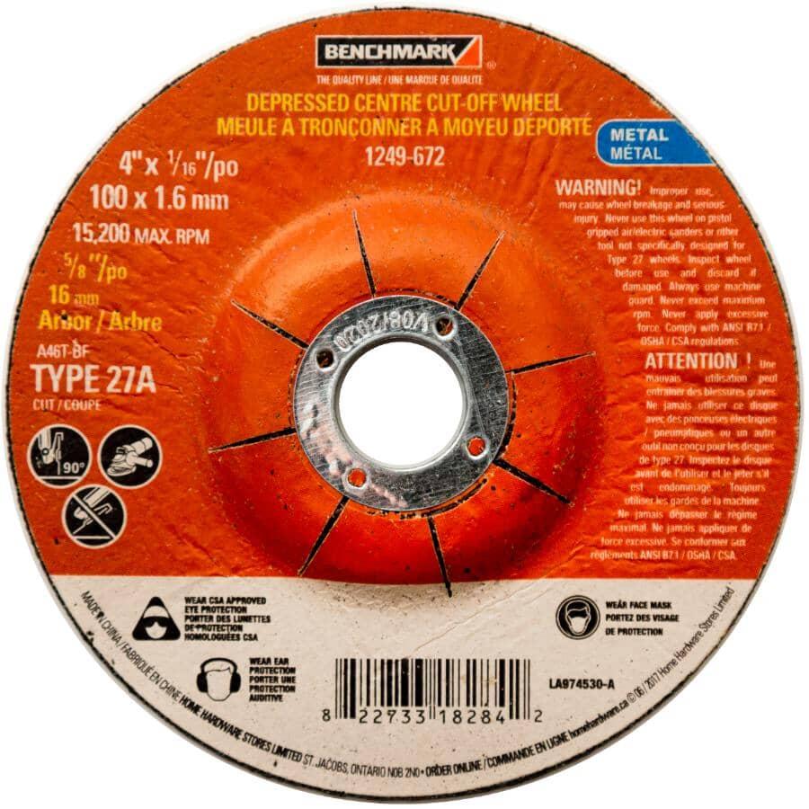 "BENCHMARK:4"" x 1/16"" x 5/8"" Depressed Centre Metal Cut-Off Wheel"